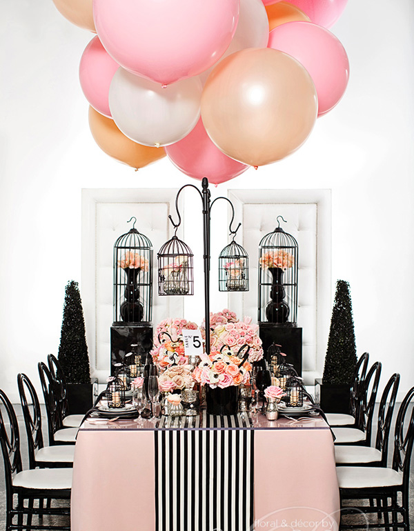 coco chanel inspired pink and black bridal shower ideas with balloon decorations