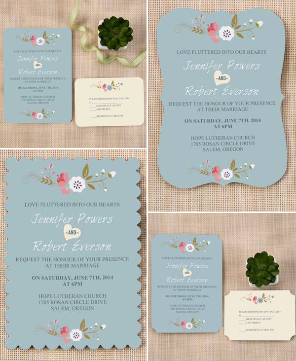 four shapes of dusty blue chic affordable wedding invitation cards