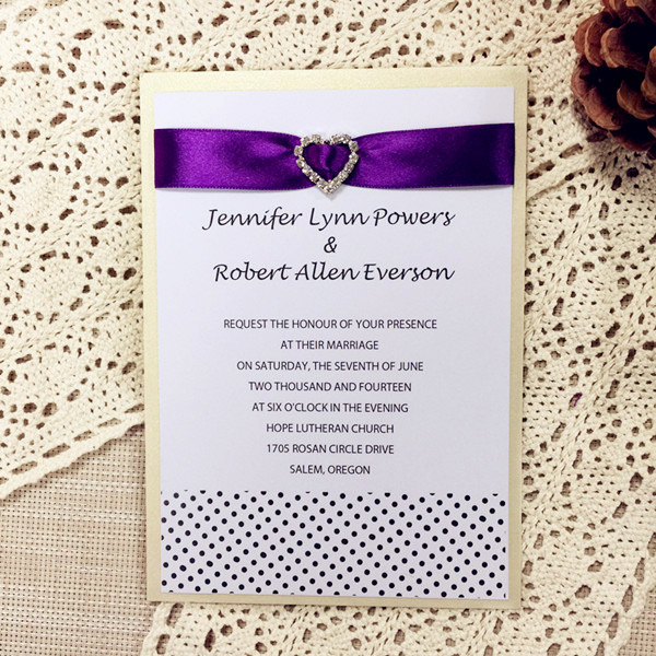 gold and purple ribbon layered modern wedding invitations with hearted rhinestone buckle EWLI008
