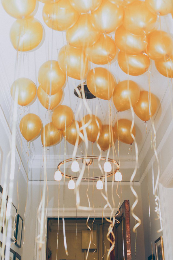hanging gold balloons with ribbons for bridal shower decorations 2015