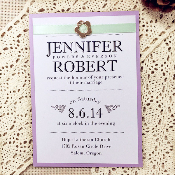 mint and lavender inspired layered modern wedding invitations with buckles EWLI001