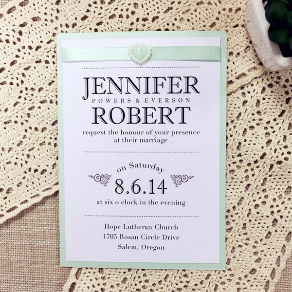 mint green inspired layered modern wedding invitations EWLI004
