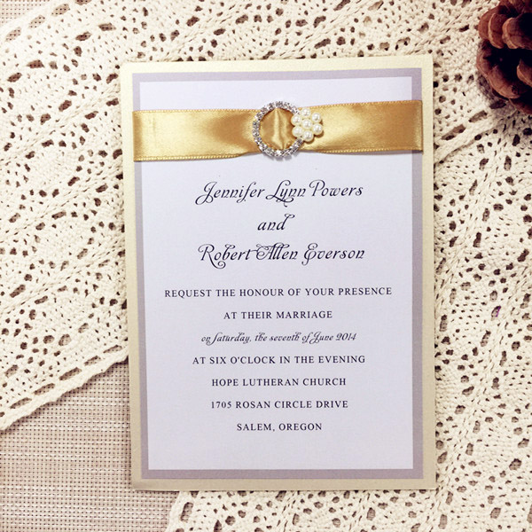 modern gold color layered wedding invitations with ribbon and rhinestones EWLI010