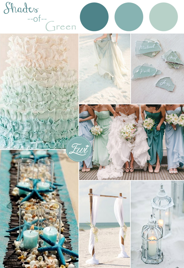 Shades Of Green Colors Inspired Beach Wedding Ideas 2017