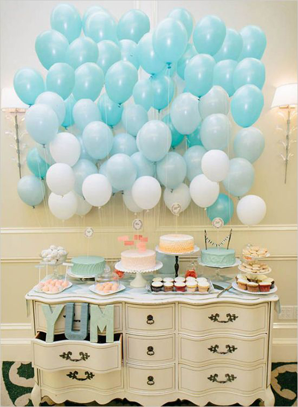 vintage shades of blue balloon themed bridal shower ideas