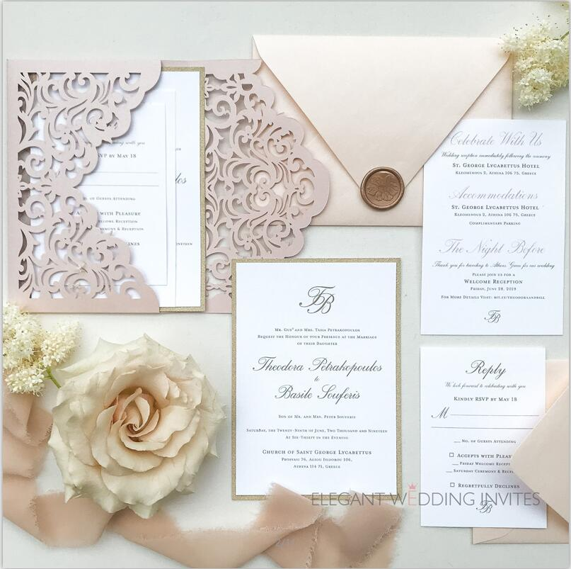 Chic simple blush laser cut wedding invites