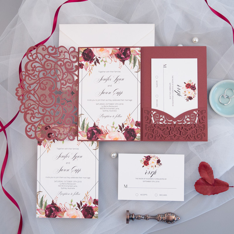 burgundy floral and geometric online wedding invitation