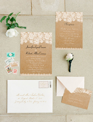 chic rustic printed lace wedding invitation cards