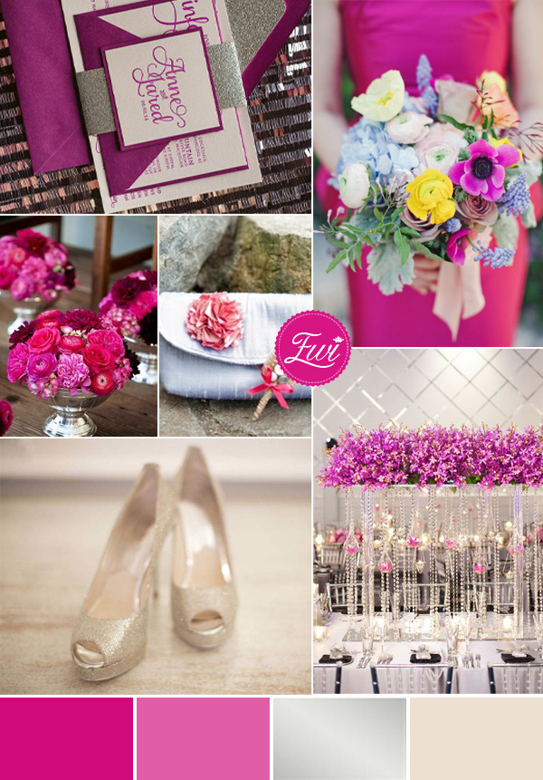 fuchsia and silver wedding color palettes for 2015 trends
