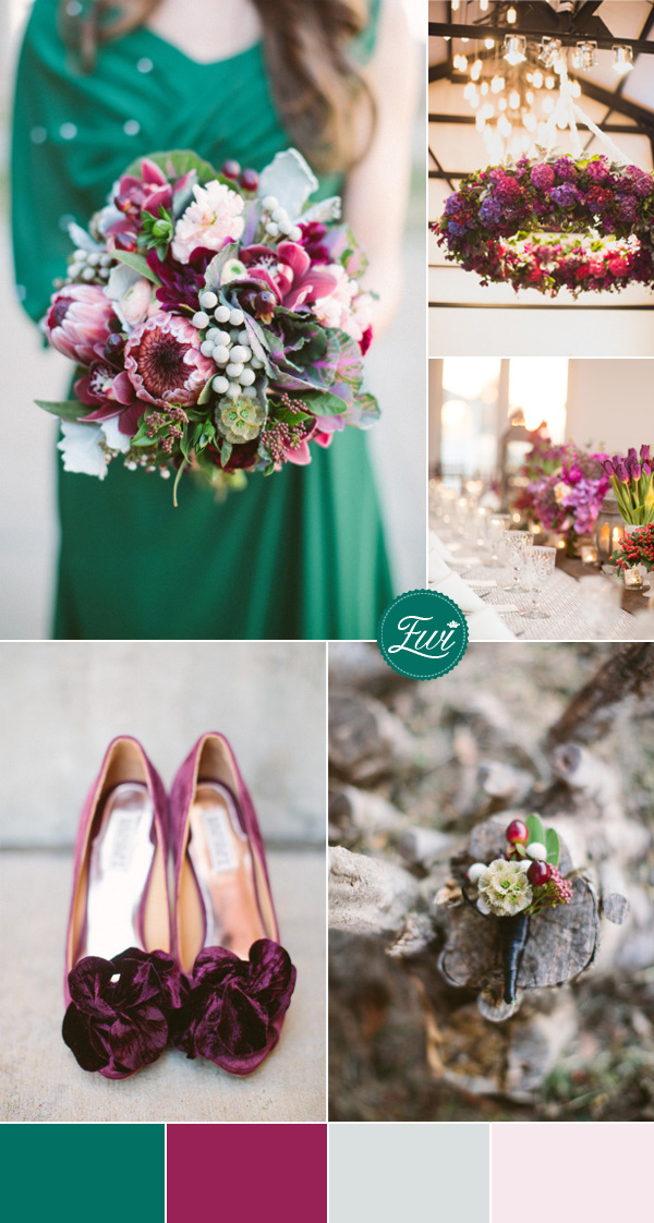 jewel tones inspired emerald green and maroon fall wedding color ideas