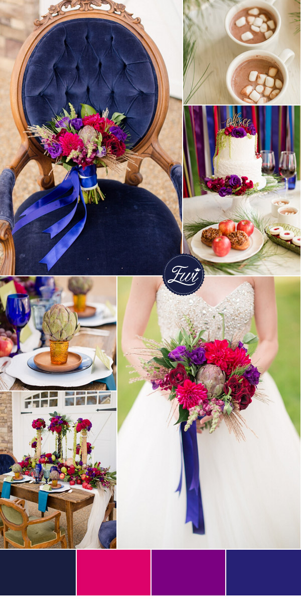 navy blue and ruby red fall wedding color ideas 2015