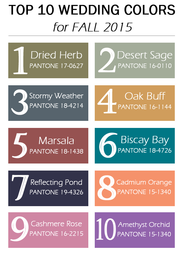 top 10 fall wedding colors 2015 trends released by Pantone