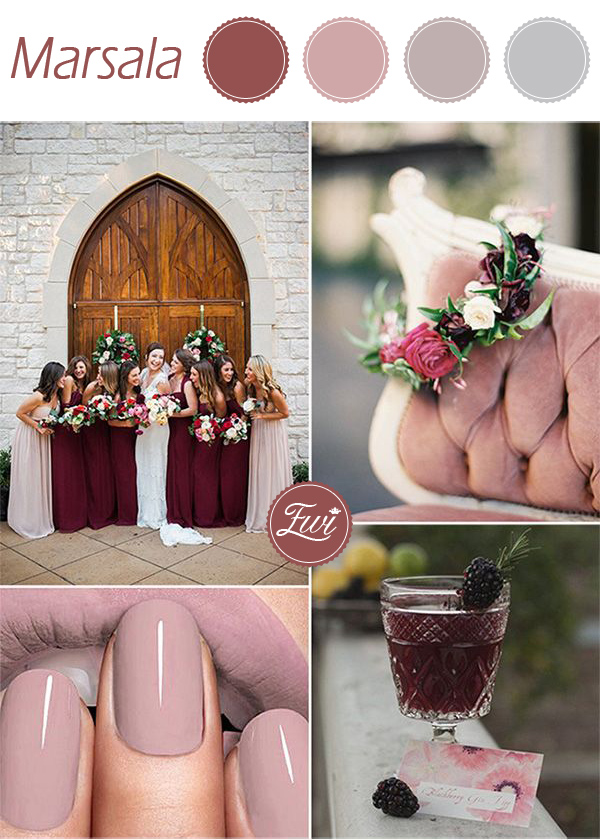unique pantone marsala and mauve fall wedding colors 2015 trends