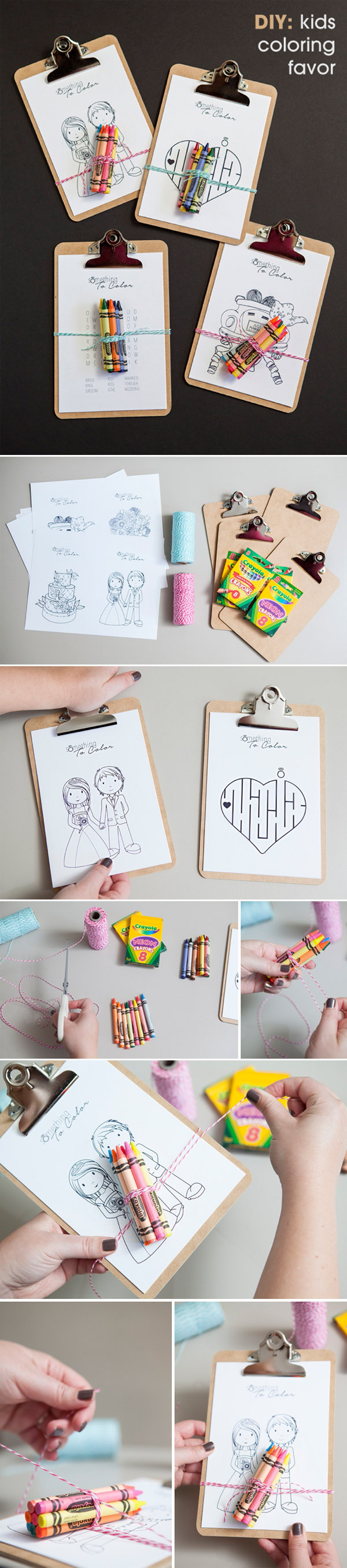 DIY kids coloring sheets clipboard wedding favors