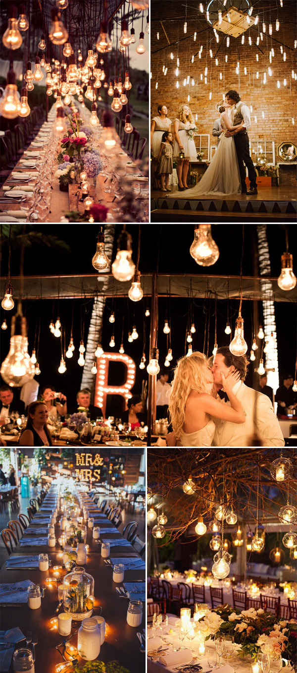Edison light bulbs inspired wedding reception ideas
