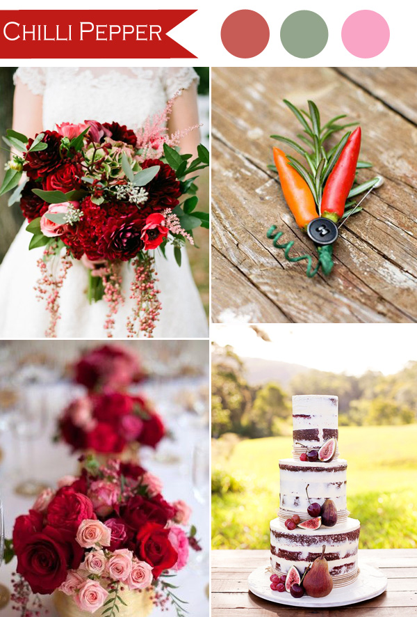 boho theme inspired chilli pepper red wedding color ideas 2015