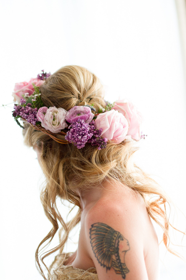 boho themed up and down wedding hairstyles for long hair