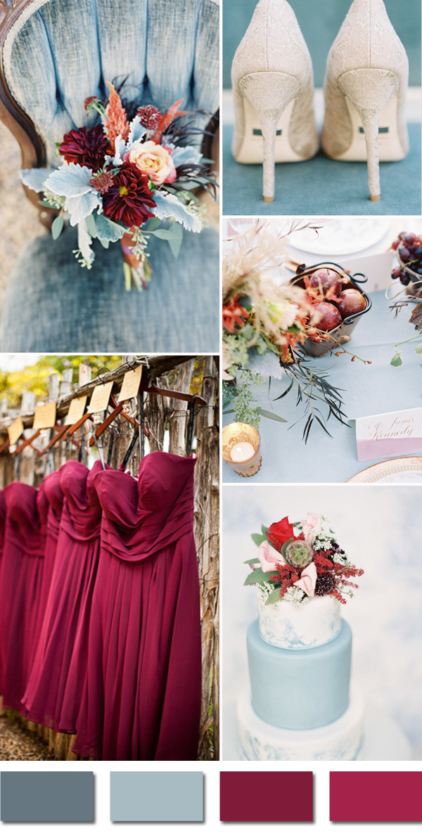 c4bc4ad95f burgundy and dusty blue september fall wedding color palettes 2015
