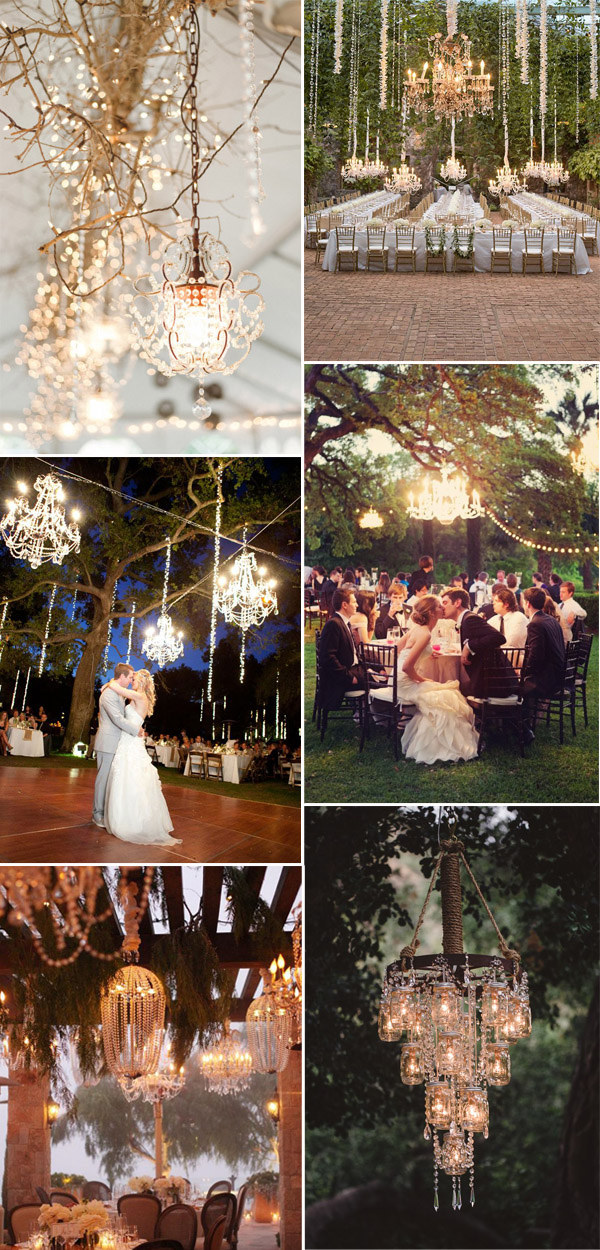 chandeliers inspired vintage rustic wedding reception lighting ideas