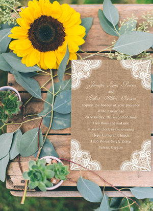 chic rustic printed lace and burlap wedding invitations EWI244