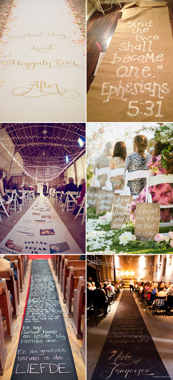 creative wedding aisles with calligraphy quotes