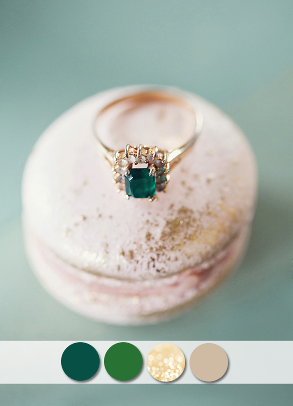 emerald green and glitter gold wedding color ideas for fall