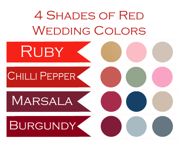 four shades of red wedding color combination ideas