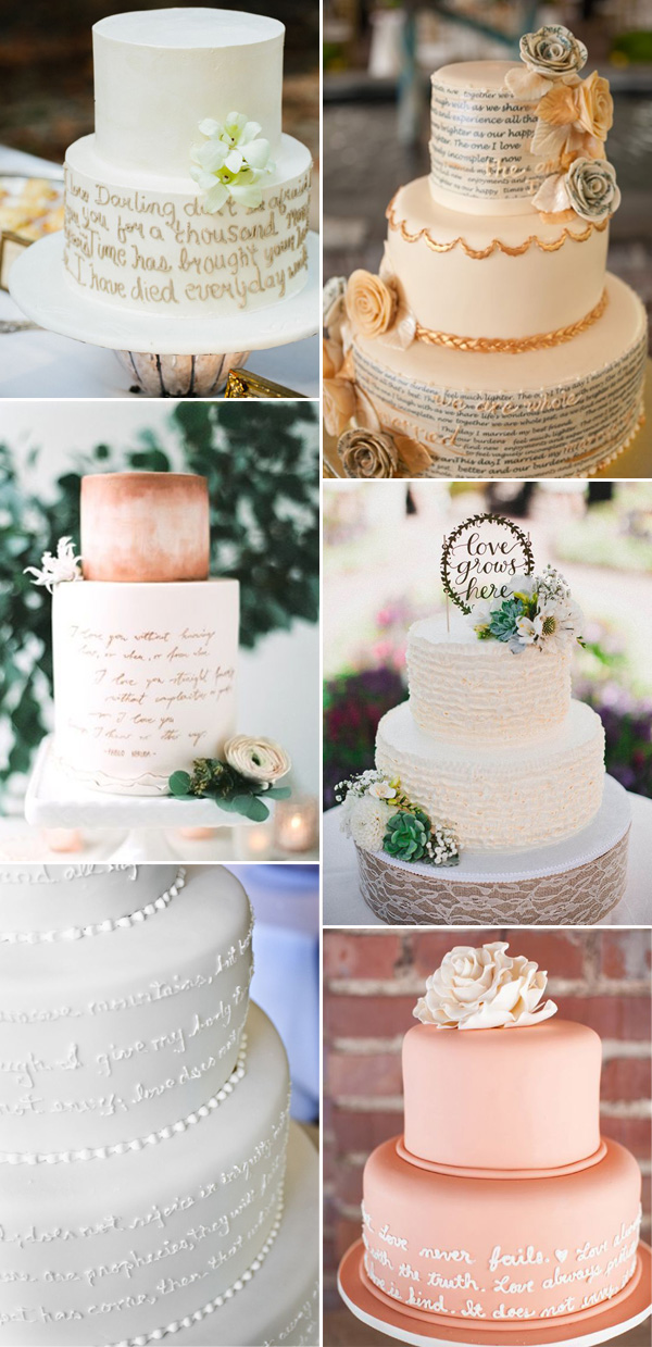 glamourous wedding cakes with script quotes for elegant wedding ideas