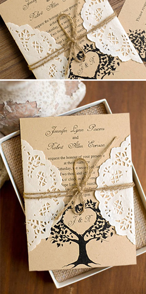 lace and burlap country rustic wedding invitation cards