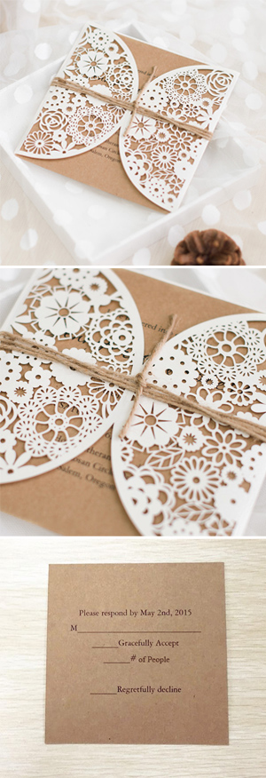 lace and burlap laser cut rustic wedding invitations