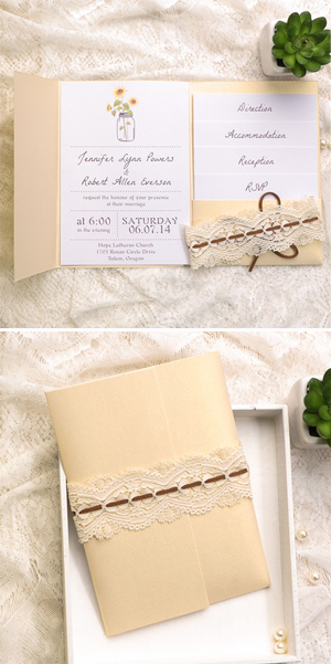 lace and burlap mason jars rustic pocket wedding invitation cards