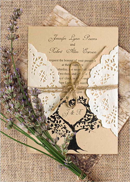 lace and burlap rustic fall wedding invitations
