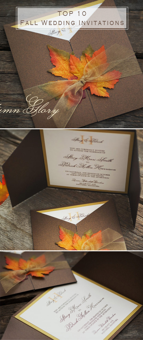 maple leaves inspired fall wedding invitations