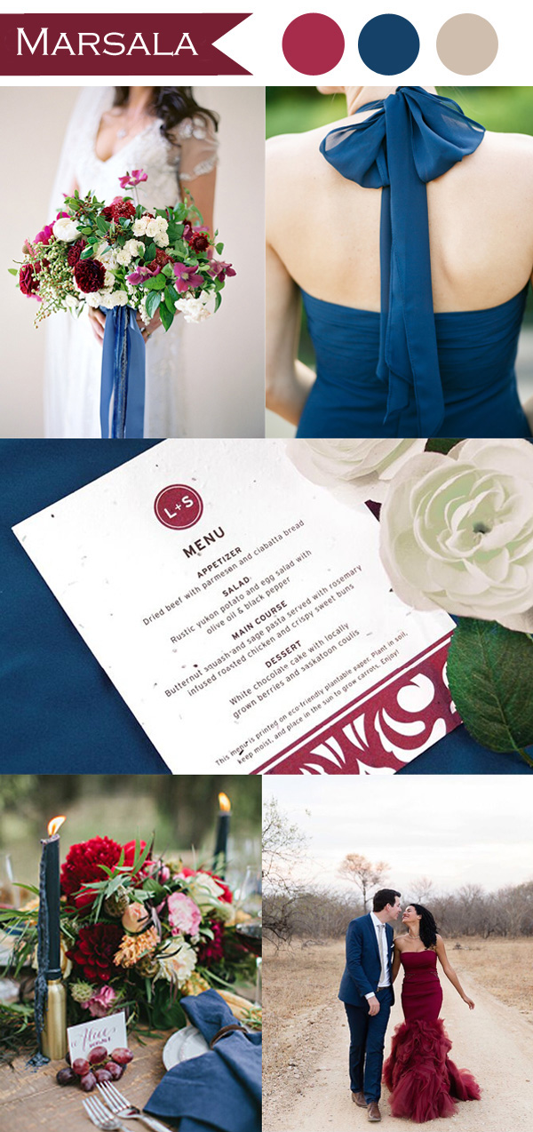 marsala and indigo blue wedding color ideas