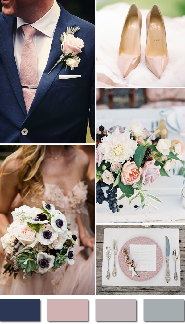 navy and blush elegant fall wedding colors for 2015 trends