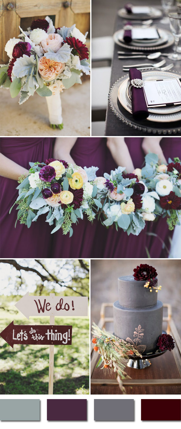 Plum And Grays Fall Wedding Color Ideas For September Brides