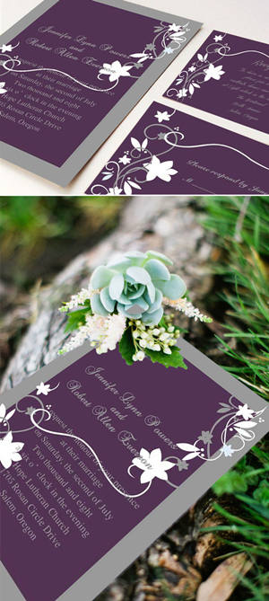purple and gray rustic wedding invitations
