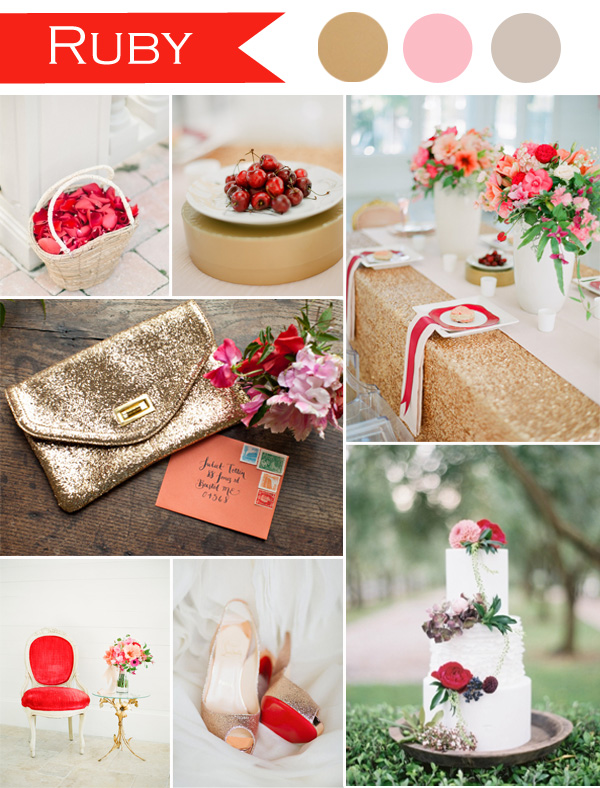 ruby red and gold wedding color schemes with some pink
