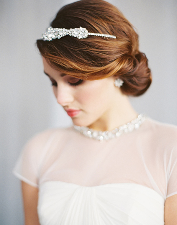 Simple Bun With Bling Crown Elegant Wedding Hair Ideas