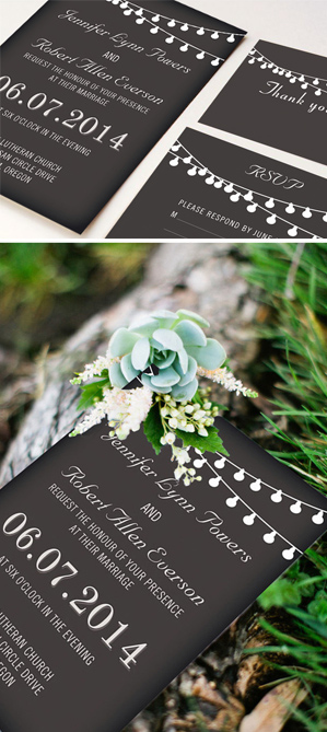 string lights inspired chalkboard rustic wedding invitations