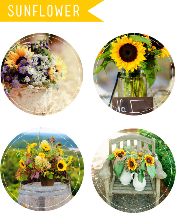 sunflower inspired wedding flowers and bouquets for fall