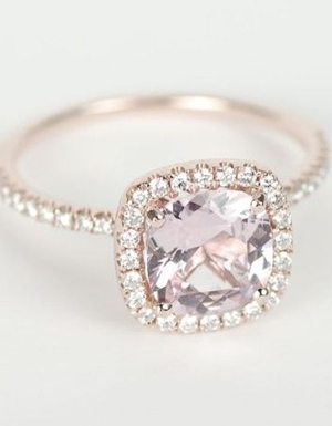 Gorgeous Stone Diamond Wedding Engagement Rings Certified Peach Pink Cushion Shire Halo Rose Gold Ring