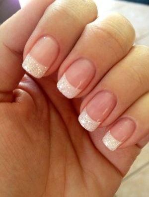 Classic Glittering White French Manicure Design wedding nails