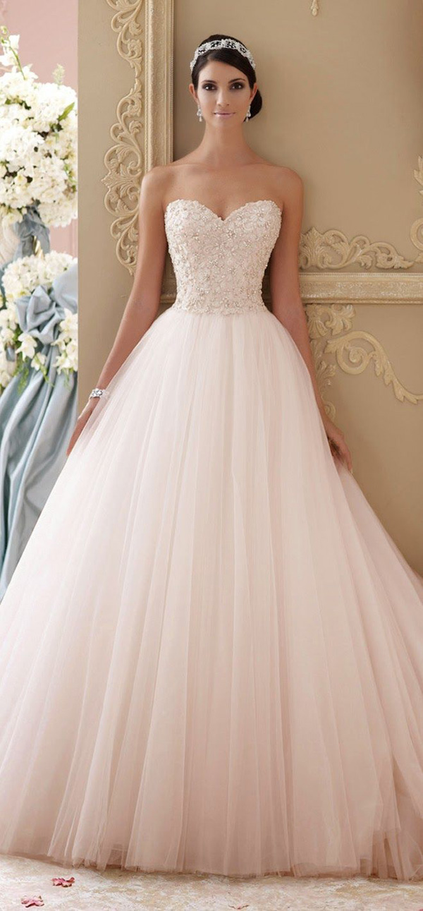 20 gorgeous wedding dresses you will love elegantweddinginvites david tutera blush pink ball gown long wedding dresses junglespirit Choice Image