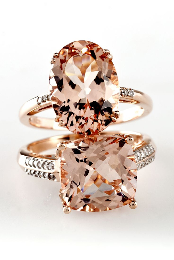 Morganite and Diamond Rose Gold Engagement Rings