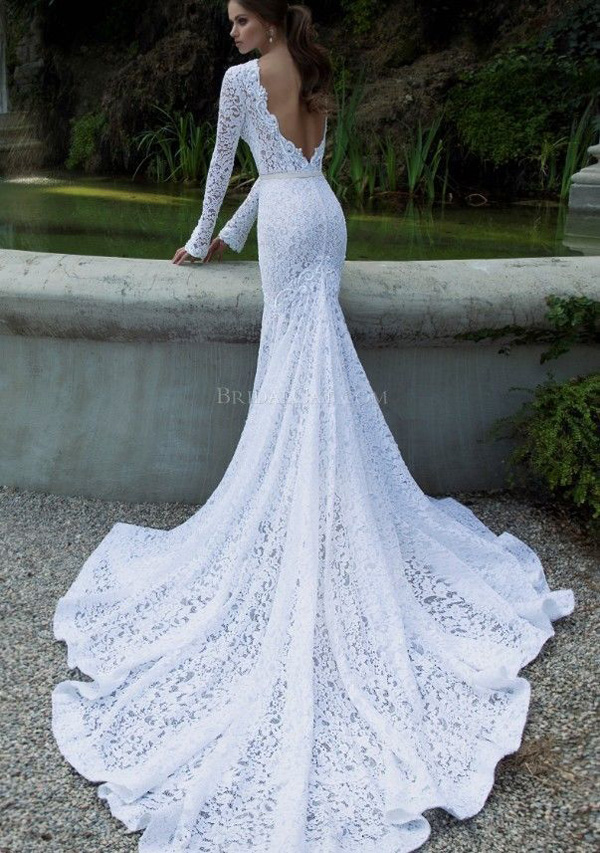 5604f51a719 Vintage Lace Wedding Dresses Mermaid Long Sleeve Backless