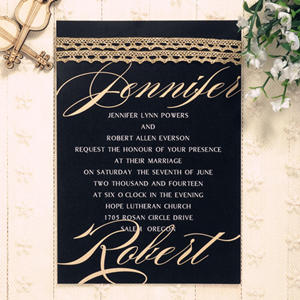 affordable modern metalic gold and black wedding invitations EWLS036