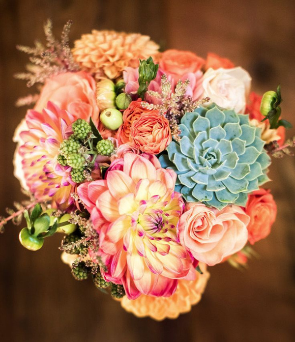 colorful romantic fall wedding bouquets