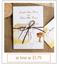 country rustic fall wedding invitation cards