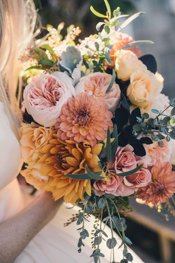 dahlia pink and yellow fall wedding bouquets
